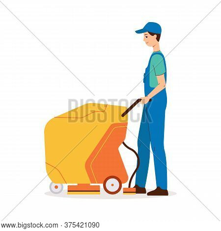 Cleaner Man Using Walk-behind Floor Scrubber Machine For Industrial Cleaning