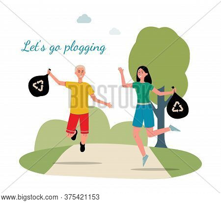 Go Plogging - Poster With Cartoon Runner Couple Holding Garbage Bags