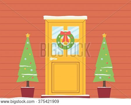 Christmas Holiday Doorway Background With Garlands Flat Vector Illustration.