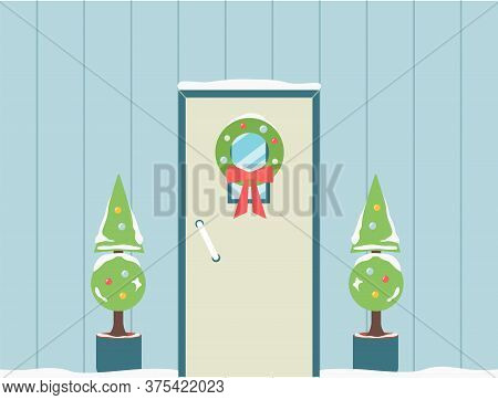 Holiday Doorway With Christmas Wreath And Noel Plants Flat Vector Illustration.