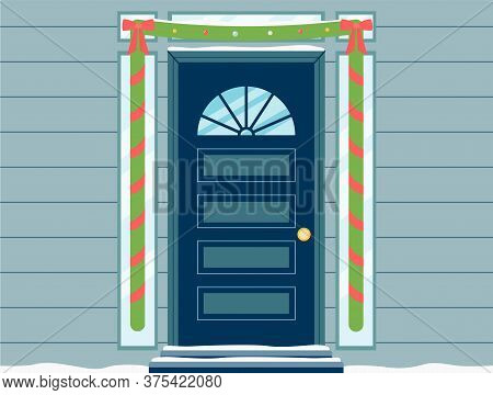 Holiday Elegant Doorway With Green Christmas Garland, Flat Vector Illustration.