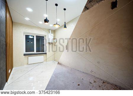 Modern, Posh, Light, Creative Kitchen Vs Grey Concrete Walls In New Building Project, Reconstruction