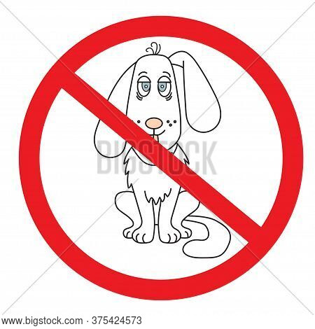 Prohibition Sign For Dogs. Cute Dog With Blue Eyes And A Forelock. No Dog Prohibiting Sign. Vector I