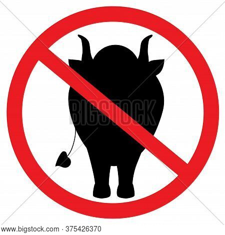 Prohibition Sign For Horned Animals. A Bull And A Cow Are Not Allowed. Black Is Strong. Prohibition