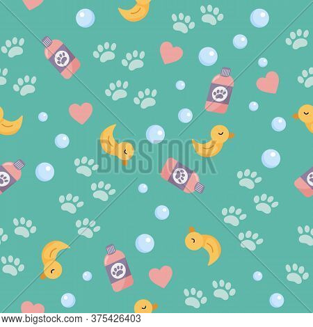 Vector Seamless Pattern Of Objects For Washing. Cute Cartoon Yellow Duck For Bath, Bubbles And Paws.
