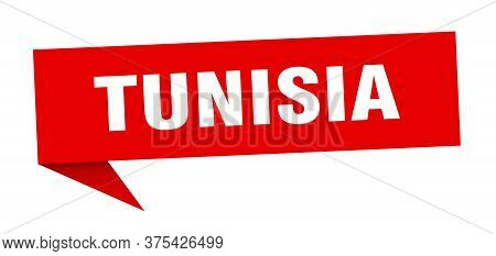 Tunisia Sticker. Red Tunisia Signpost Pointer Sign
