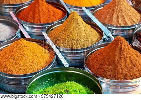Close-up Of Spices On Market Stall. India - Anjuna Market, Goa