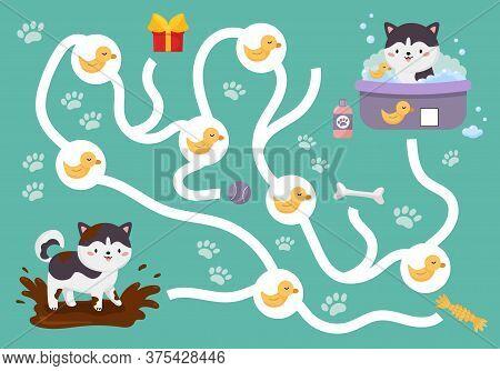 Educational Maze Game For Preschool Kids. Cute Kawaii Siberian Husky In Muddy Puddle. Help The Dog F