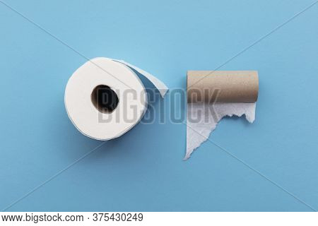 Empty Used Toilet Roll Next To A Full Roll Of Toilet Paper