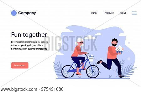 Happy Old Woman Riding Bike. Unhappy Worried Man Running And Holding Sweet Cupcake Flat Vector Illus