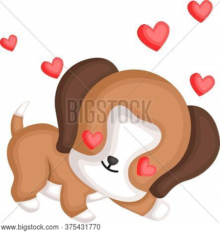 A Vector Of A Cute Beagle In Love