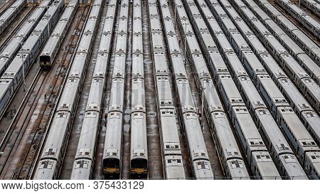 High Angle Close-up Aerial View Of Hudson Yards Train Depot With Train Lines, New York, Usa