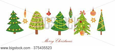 Christmas Tree Vector Icon Collection With Decorated Firs, Garlands, Stars, Toys Isolated On White.