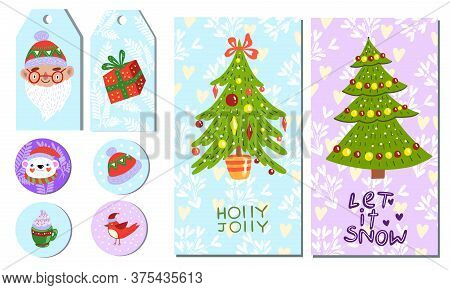 Printable Christmas Tags Set With Bear, Decorated Pines, Santa, Bullfinch, Cup. Winter New Year Labe