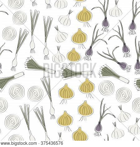 Vector Vegetables Garlic Onions Leeks Shallots On White Seamless Repeat Pattern. Background For Text