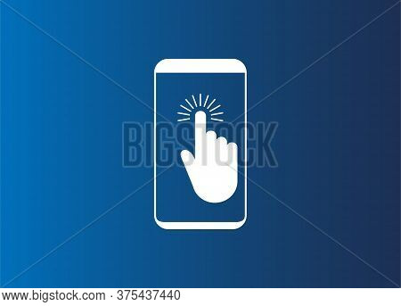 Mobile Phone In Hand, Touch. Vector Illustration, Flat Design.