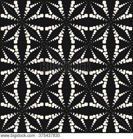 Vector Geometric Dotted Seamless Pattern. Simple Minimal Black And White Texture With Halftone Dots,