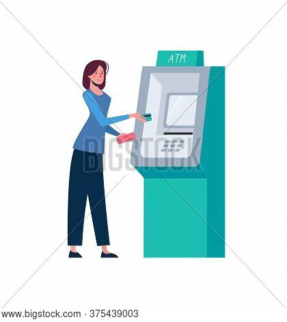 Woman Withdraws Money Through An Atm. Replenishment Of A Bank Card In Cash. The Girl Holds A Wallet