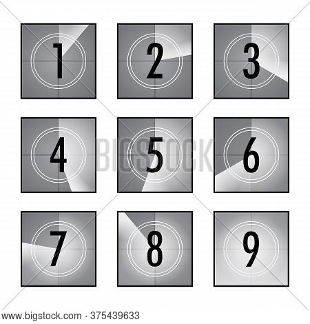 Film Countdown Set. Square Counters With Numbers In Circles, Vintage Intro Of Movie, Retro Camera Or