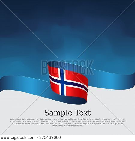 Background With Flag Of Norway. Flag Of Norway With Wavy Ribbon On A Blue White Background. National