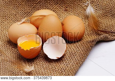 Brown Chicken Eggs In Egg Carton And Egg Yolk With Chicken Feather On Hemp Sack Background. Copy Spa