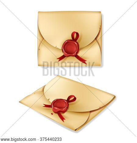 Golden Vintage Envelope With Red Wax Seal, Isolated On White Background. Blank Closed Paper Cover, A