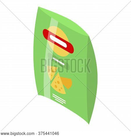 Chips Package Icon. Isometric Of Chips Package Vector Icon For Web Design Isolated On White Backgrou