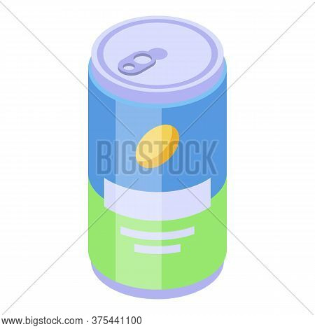 Energy Drink Tin Icon. Isometric Of Energy Drink Tin Vector Icon For Web Design Isolated On White Ba