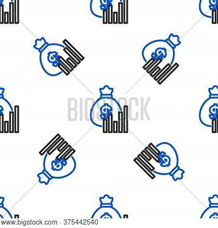 Line Money Bag And Diagram Graph Icon Isolated Seamless Pattern On White Background. Financial Analy