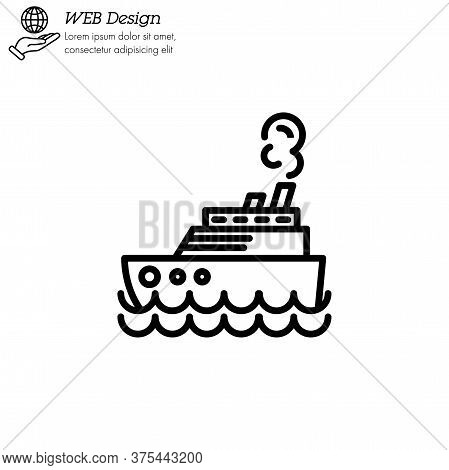 Steamship, Steamboat, Cruise Sea Ship Icon Thin Line, Linear, Outline. Simple Sign, Logo.