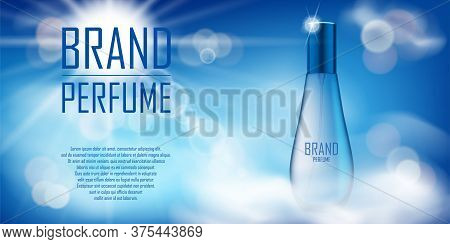 Cosmetic Product Bottle Ad Design. Realistic Perfume Container In Cloudy Sky Background For Your Bra