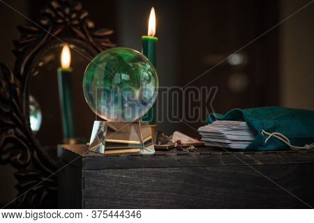 Magic Crystal Ball Fortune Teller ,love Telling,  Esoteric Concept, Mystical Scene With Candles, Tar