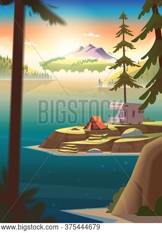 Summer Morning Landscape With Mountain Lake View And Camping.