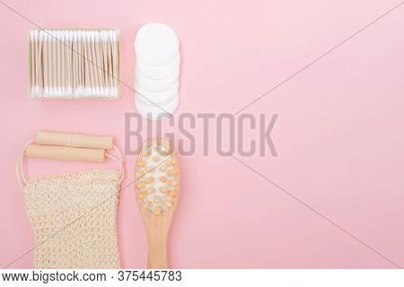 Bathroom Accessories, Zero Waste Concept, Top View, Copy Space.