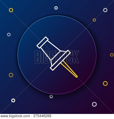 Line Push Pin Icon Isolated On Blue Background. Thumbtacks Sign. Colorful Outline Concept. Vector