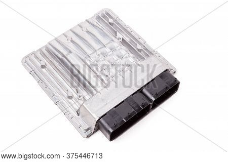 Aluminum Car Engine Control Unit With Metal Elements On White Background Is Connecting Center Of Var