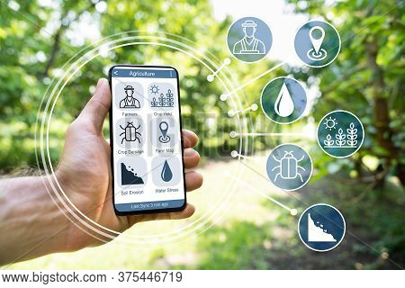 Smart Farming Digital Technology Agriculture App At Farm