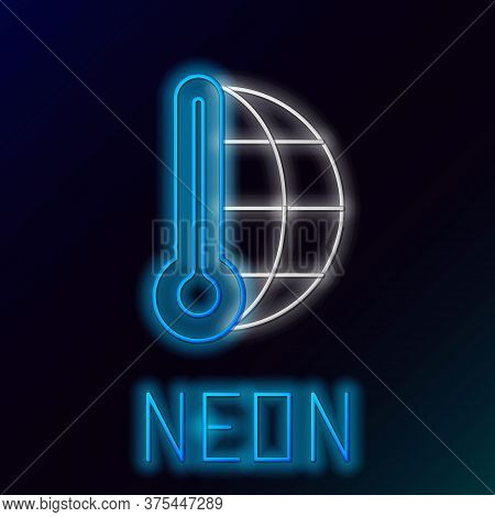Glowing Neon Line Meteorology Thermometer Measuring Heat And Cold Icon Isolated On Black Background.