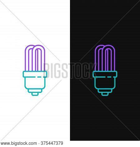 Line Led Light Bulb Icon Isolated On White And Black Background. Economical Led Illuminated Lightbul