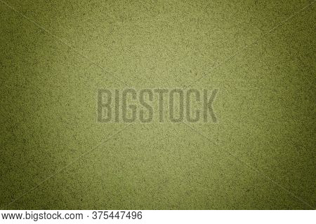 Texture Of Vintage Light Green Paper Background With Matte Vignette. Structure Of Olive Kraft Cardbo