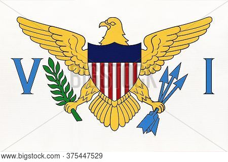 United States Virgin Islands National Fabric Flag, Textile Background. Symbol Of Unincorporated Terr