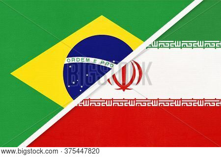 Republic Of Brazil And Iran Or Persia, Symbol Of Two National Flags From Textile. Relationship, Part