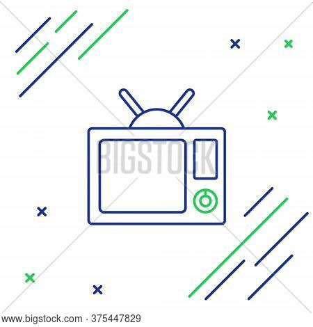 Line Tv Icon Isolated On White Background. Television Sign. Colorful Outline Concept. Vector
