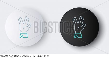 Line Vulcan Salute Icon Isolated On Grey Background. Hand With Vulcan Greet. Spock Symbol. Colorful