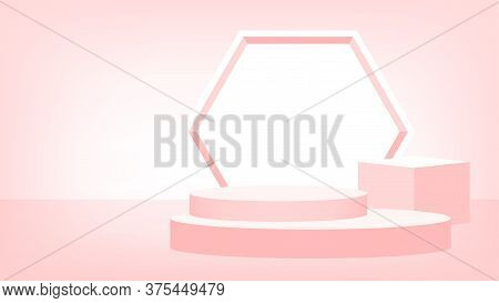 3d Stage Pedestal Red Pastel Color, Podium Stage Show For Victory Champion Position, Pedestal Stand