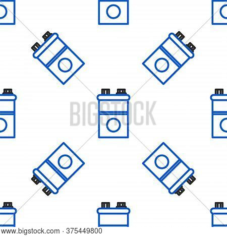 Line Car Battery Icon Isolated Seamless Pattern On White Background. Accumulator Battery Energy Powe