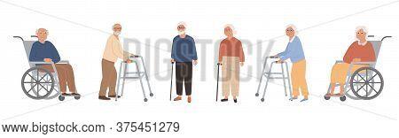 Set Of Elderly Disabled People At Nursing Home. Old Grandparents On Retirement. Modern Male And Fema