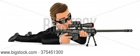 3d Security Agent Lying Down With Sniper Rifle, Illustration With Isolated White Background