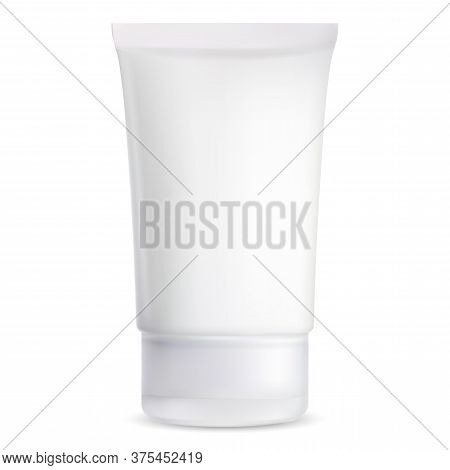 Cosmetic Tube Mockup. White Plastic Packaging For Cosmetic Cream Or Gel. Tooth Paste Or Ointment Pro