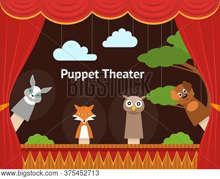 Cartoon Children Puppet Theater With Curtain Background Card Show, Entertainment Or Performance Conc